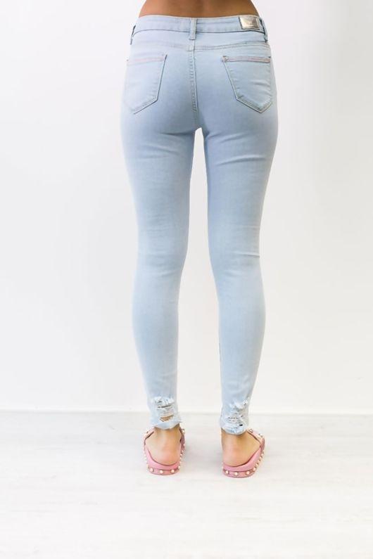 Light Denim Ripped Detail Skinny Jeans
