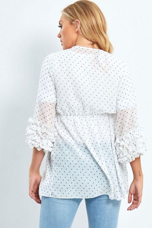 White Chiffon Polka Dot Kimono With Ruffle Sleeves