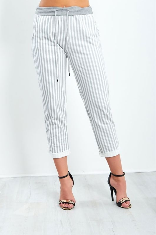 Grey Striped Turned Up Hem Trousers