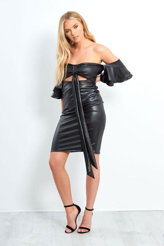 Black Pu Leather Off The Shoulder Mini Dress