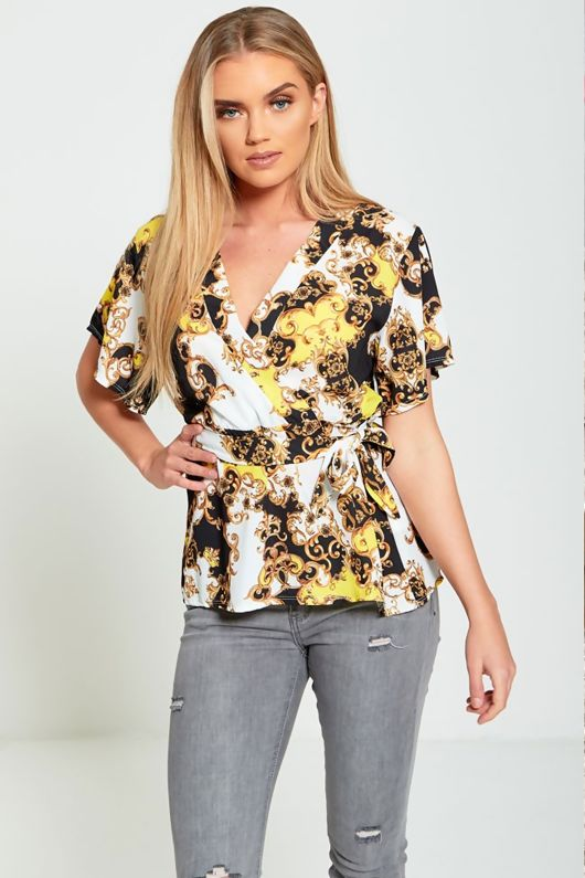 Yellow Printed Wrap Top