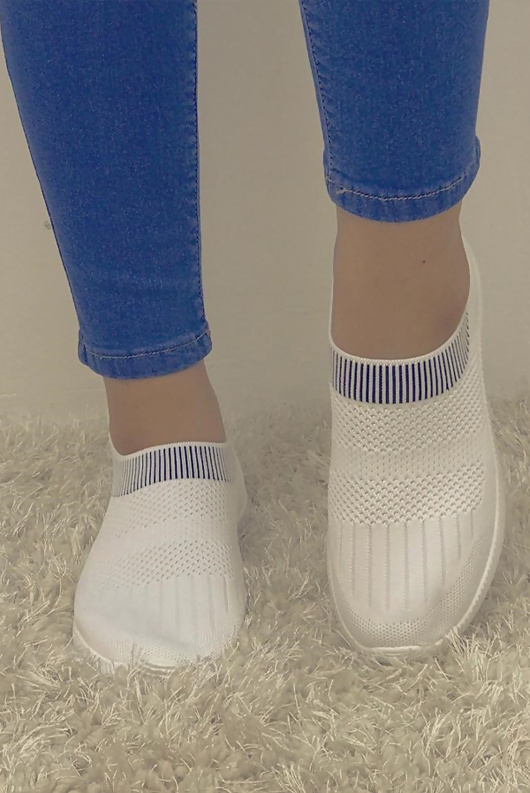 White Skylar Runner Sock Trainer