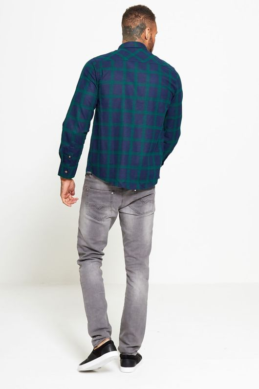 Navy and Green Checked Shirt