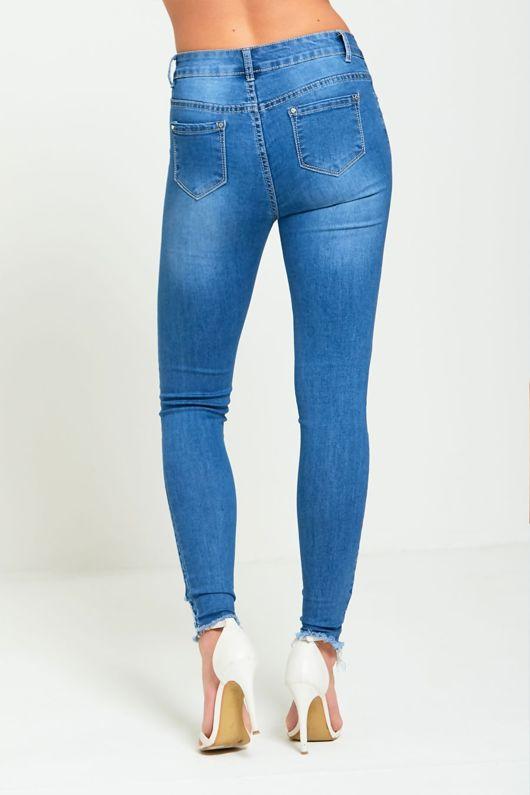 Floral Embroidered Denim Skinny Jeans
