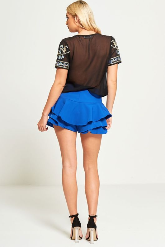 Blue High Waist Ruffle Shorts