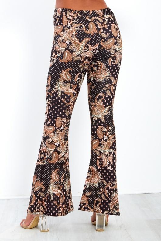 Paisley Print Flare Hem Trousers