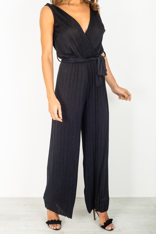 Black Glitter Plunge Pleated Jumpsuit