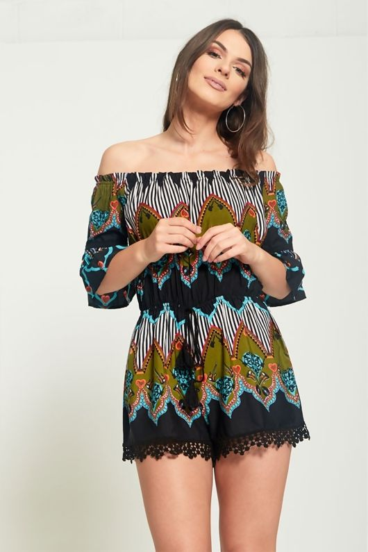 Green Frill Sleeve Tassel Hem Playsuit