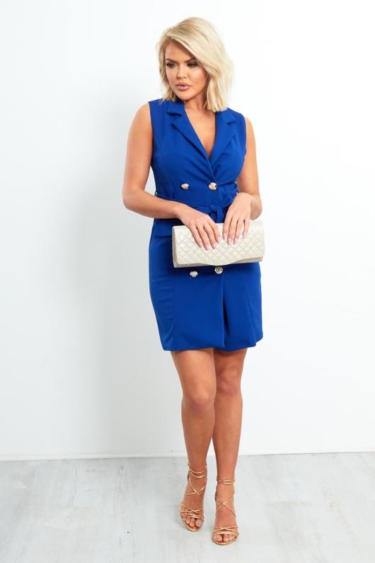 Royal Blue Front Button Blazer Dress