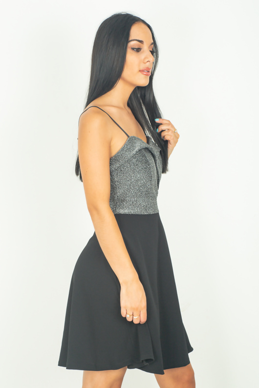 Black Sparkle Skater Dress