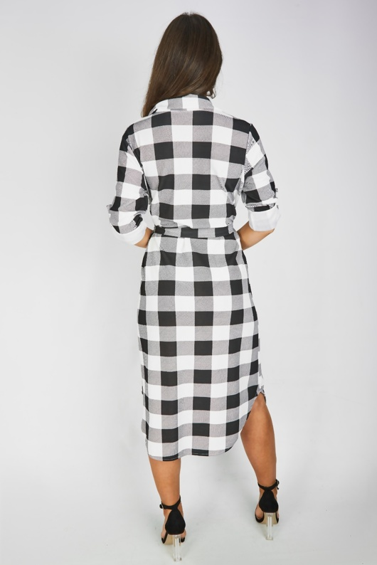 White Check Tie Waist Midi Shirt Dress