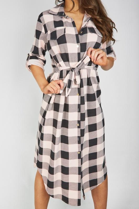 Pink Check Tie Waist Midi Shirt Dress