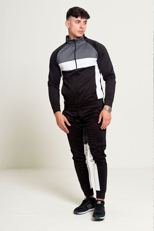 Mens Black Grey and White Collared Tracksuit