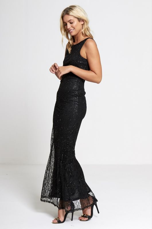 Black Premium lace overlay maxi dress