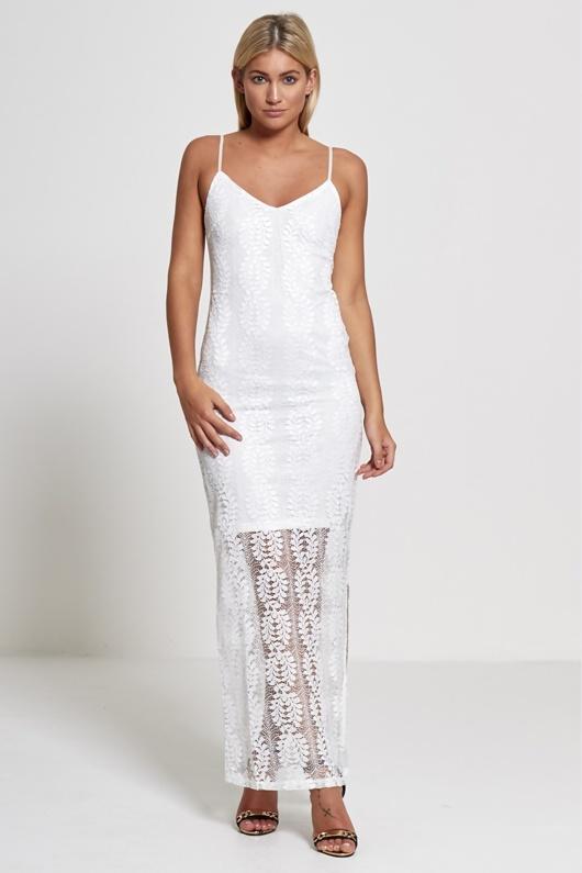 eae0d2e3b5b7 White Lace Overlay Maxi Dress