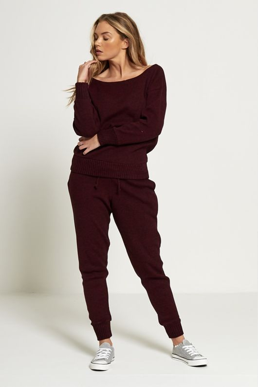 Wine Loose Fit Lounge Wear Knitted Top