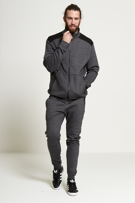 Mens Charcoal Zip Through Collar Contrasting Panel Tracksuit