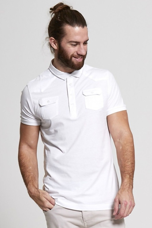 Mens White Pocket Front Polo T-Shirt