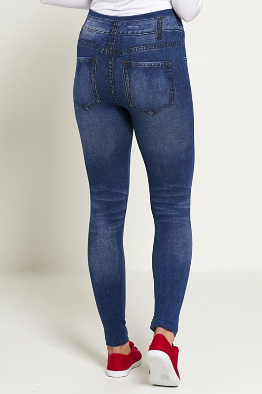 Jean Print Embroidered Patchwork Denim Jeggings