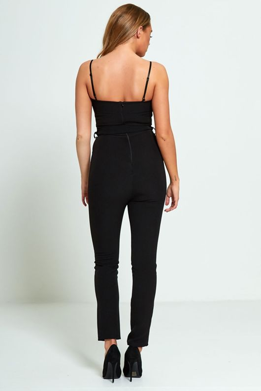 Black Strappy Bow Tie Jumpsuit