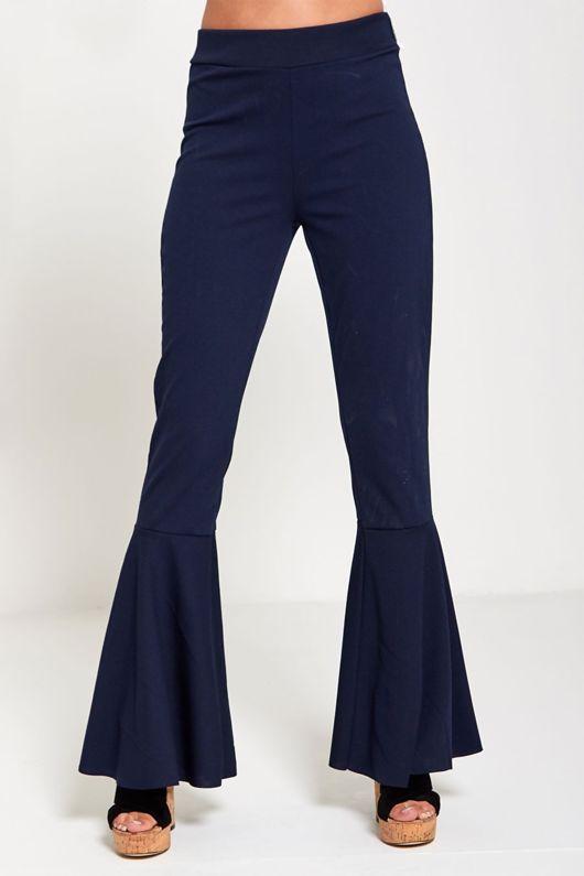 Navy Flare Trouser