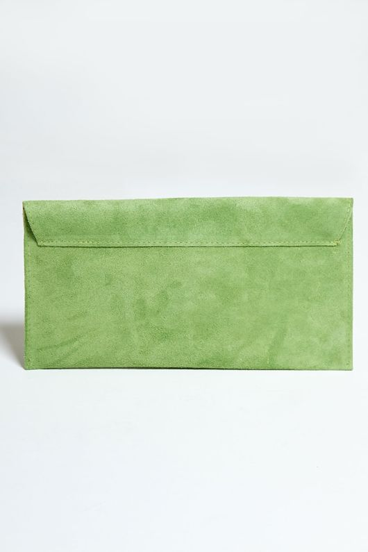 Green Suede Envelope Clutch Bag