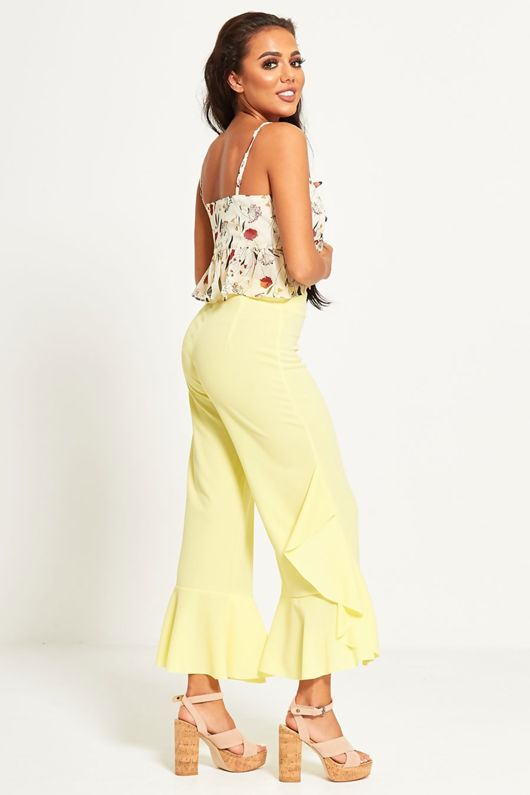 Lime Asymmetry Drape Frill Trouser