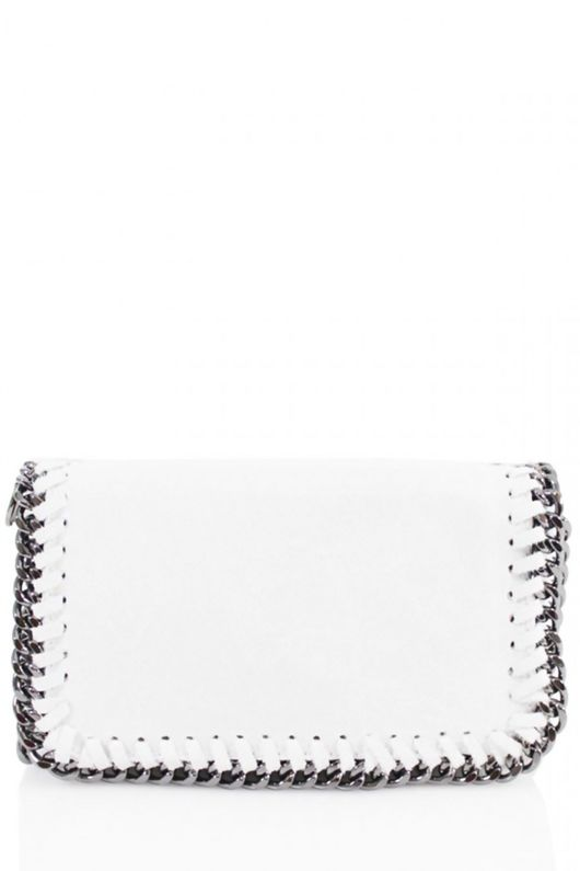 White Metal Frame Leather Crossbody Bag