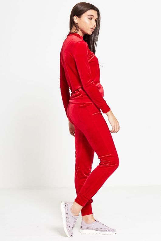 Red Velour High Neck Loungewear Tracksuit
