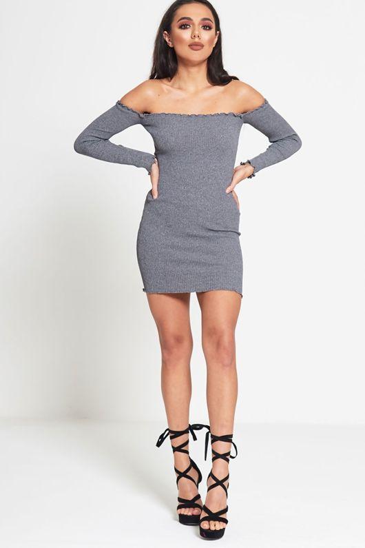 Grey Frill Trim Ribbed Bodycon Dress