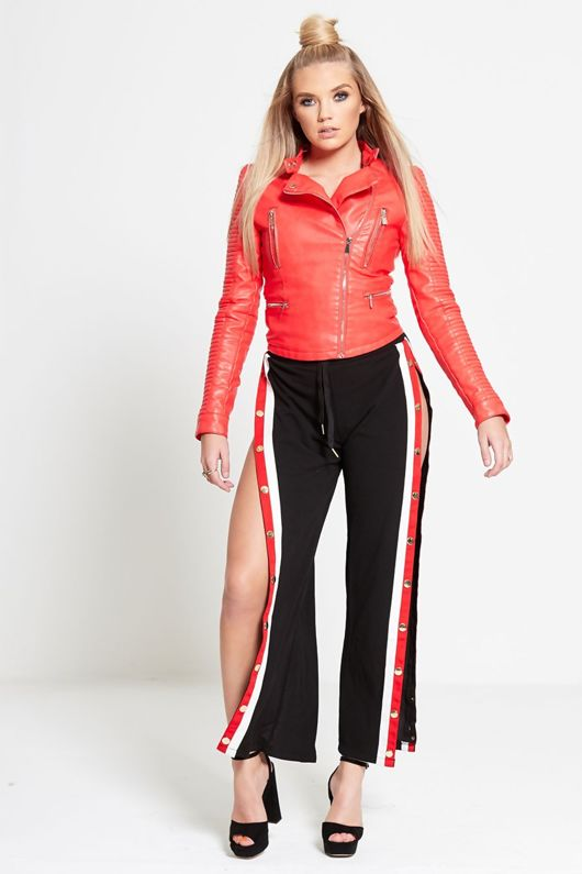 Red And White Stripe Side Popper Trousers