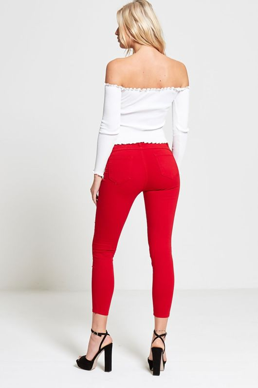 Red Pearl Detail Embellished Skinny Jeans