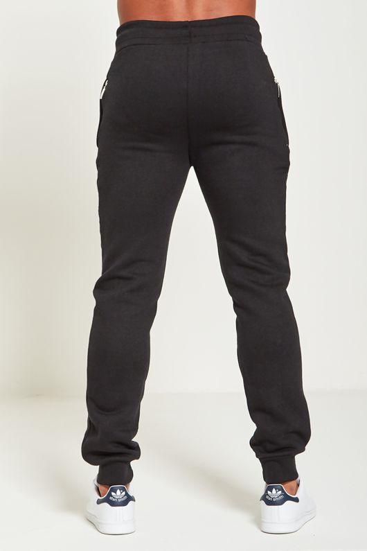 Black Mens Slim Fit Knee Zip Pocket Jogging Bottoms