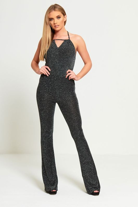 Sparkle All Day Charcoal Flared Leg Backless Jumpsuit