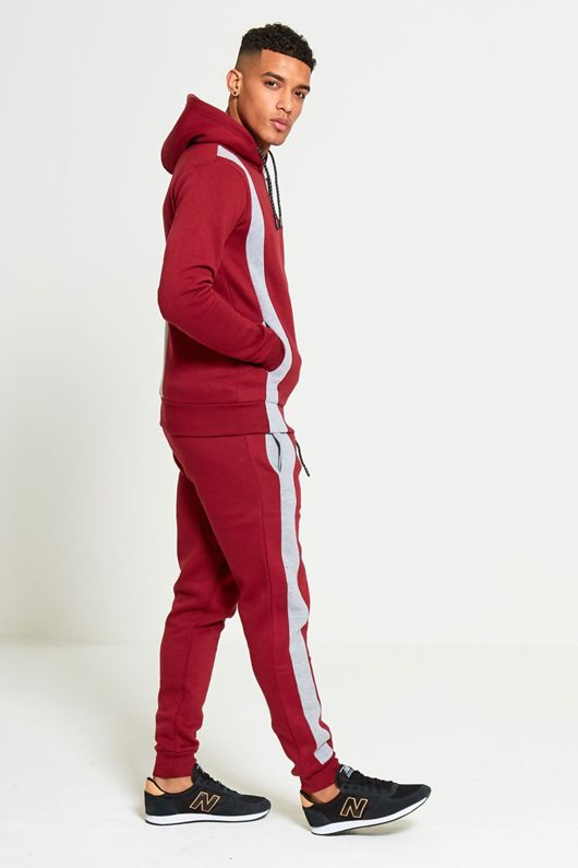 Wine Tracksuit With Colour Block Detail