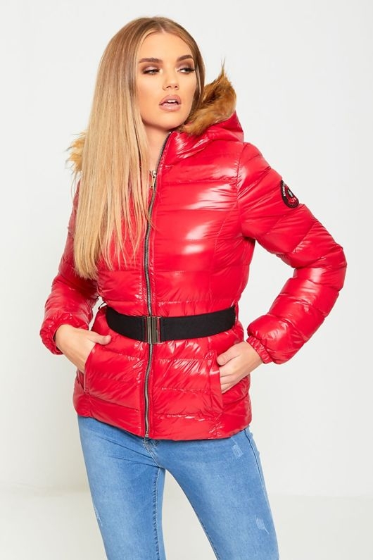 Red Belted Fur Hood High Shine Puffer Coat