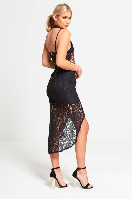 Black Choker Neck Floral Embroidered Fish Tail Lace Dress
