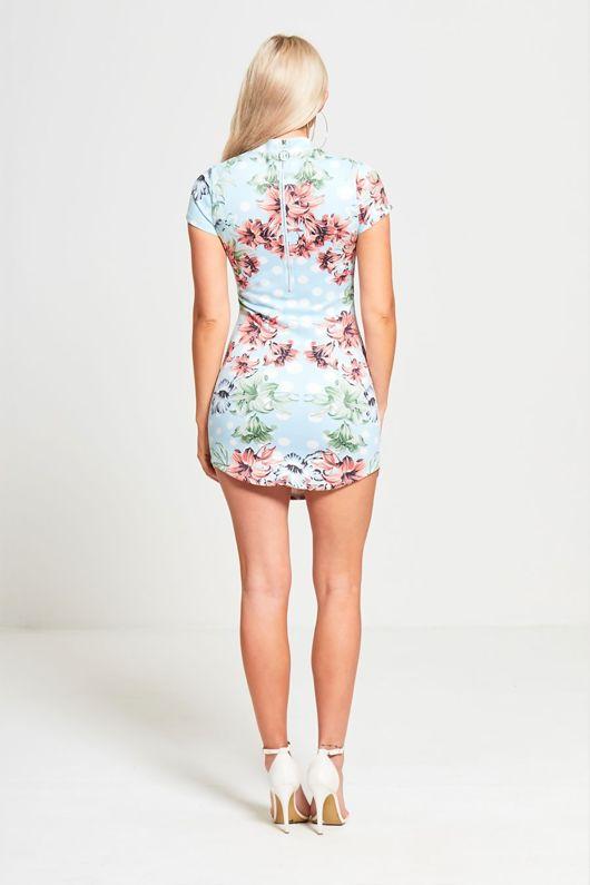 Blue Floral Faux Suede Bodycon Mini Dress
