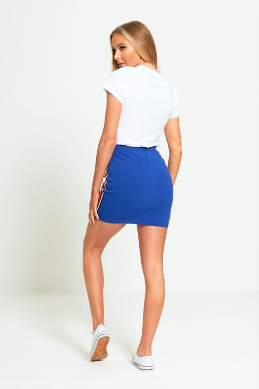 Blue Striped Bodycon Mini Skirt