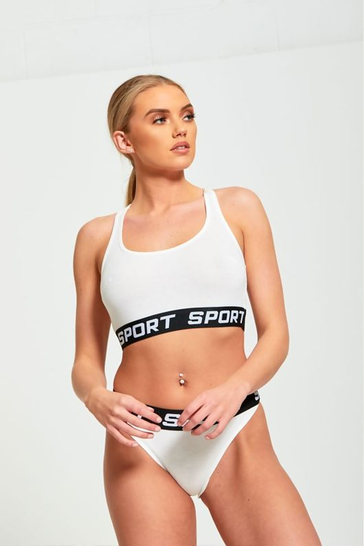 Cream Elasicated Waistband Sports Bra And Knickers Set