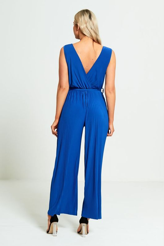 Blue Culotte Pleated Jumpsuit-Copy