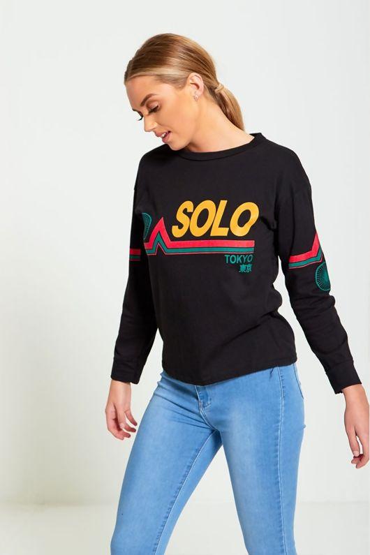 Black Solo Tokyo Printed Long Sleeve Top