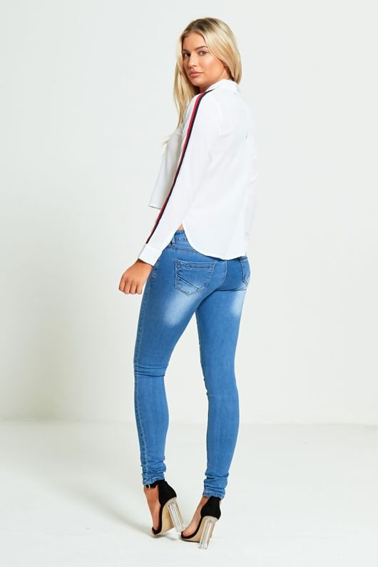Mid Rise Double Zip Denim Skinny Jeans