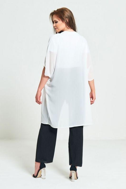 White Half Sleeve Chiffon Cardigan