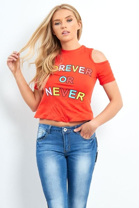 ornage ever or forever slogan knot top -Copy-Copy