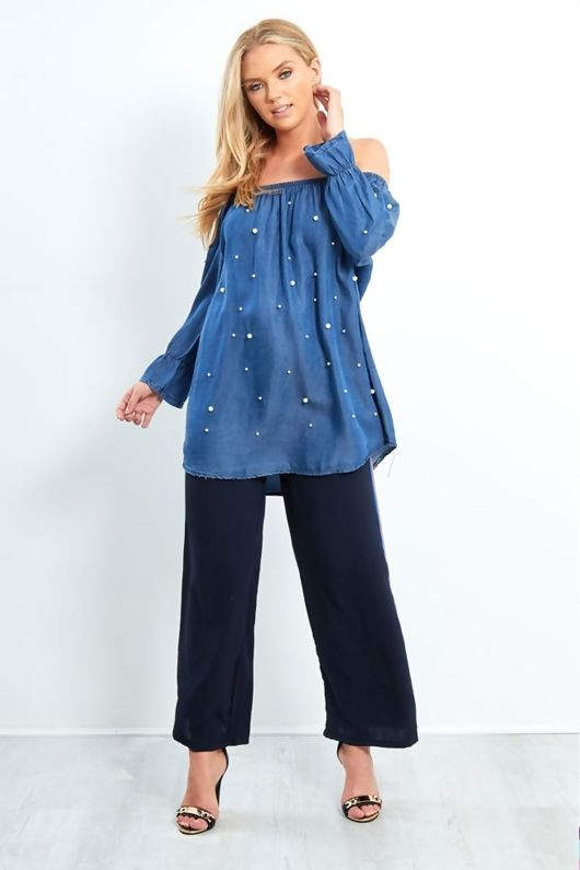 dark denim pearled bardot shirt