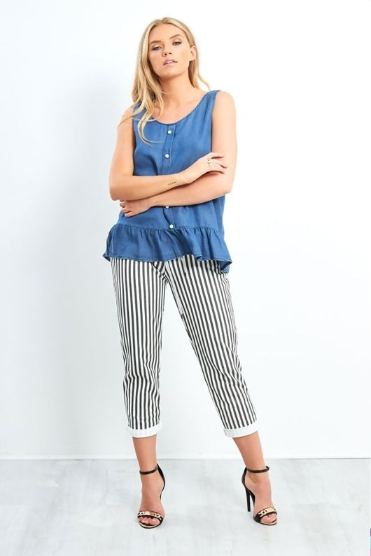 dark denim pearl button frill hem sleeveless top