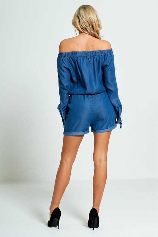 Bardot Style Light Denim Playsuit