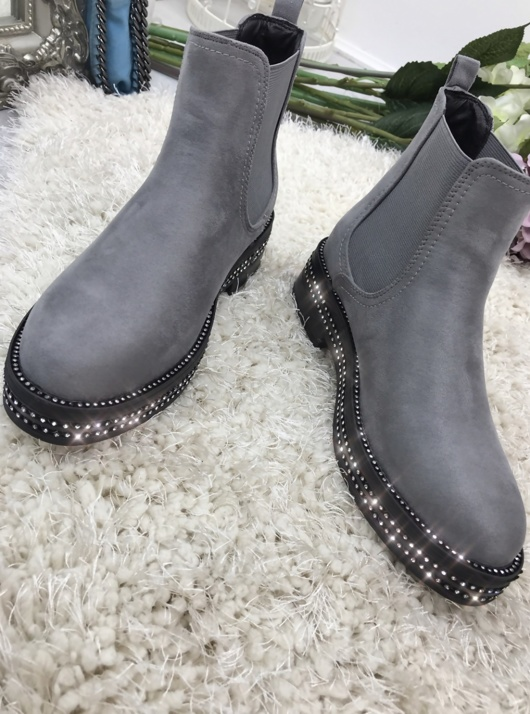 Grey Suede Classic Chelsea Boot With Stud Detail