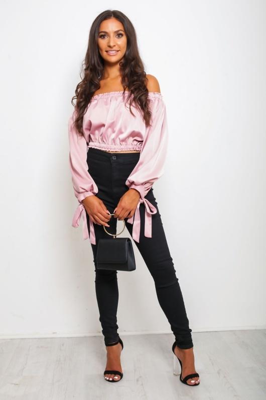 Pink Off Shoulder Crop Top
